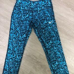 Nike Blue Leopard Print Running Tights